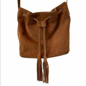 J Crew Factory suede tasseled bucket bag crossbody
